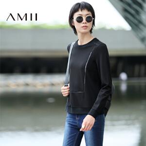 【AMII超级大牌日】[极简主义]2017年春款直筒纯色套头罗纹拼接镂空卫衣女11692841