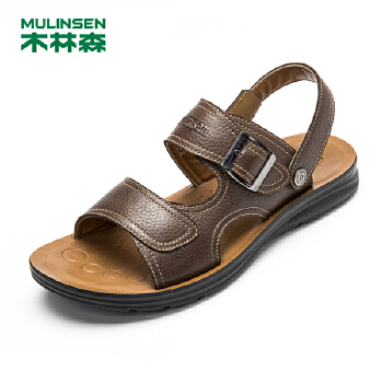 木林森男凉鞋 真皮休闲男鞋英伦透气夏季新款沙滩鞋男士皮凉鞋子21522020