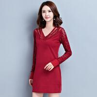 加绒加厚2017春季新款长袖蕾丝拼接气质韩版大码修身包臀打底裙17DDJ9051
