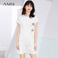 Amii[极简主义]2017夏装新抽象印花H型亲子装短袖连衣裙11784208