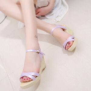 2017夏季新款简约女鞋鱼嘴凉鞋女坡跟纯色甜美搭扣凉鞋ZR-M12