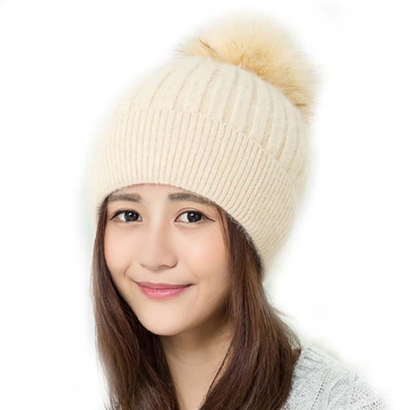 冬季帽子女冬天女生针织帽秋冬女士毛线帽甜美可爱_米色,均码(有弹性