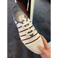 Prada 黑白条纹蓝色鞋口男士布鞋 41.5码