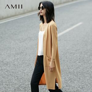 【预售】Amii2017春修身V领开襟口袋撞色长毛针织衫11771338