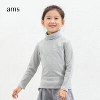 amii童装冬装新女童高领T恤百搭打底衫中大童儿童保暖上衣+