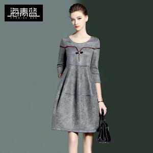 海青蓝新款潮流个性七分袖圆领A字裙欧美收腰连衣裙7485