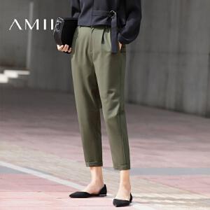 Amii[极简主义]2017春新款纯色直筒休闲大码女九分长裤11720513