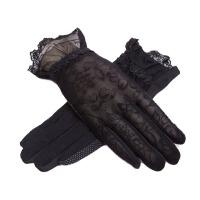 春夏季开车防晒手套女士短款遮阳手套防滑蕾丝薄款