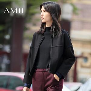 【AMII超级大牌日】[极简主义]2017年春新宽松织带拼接落肩插袋橡筋短外套11693299