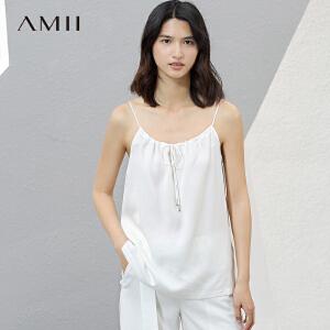 Amii[极简主义]2017夏新直筒纯色层次抽褶绑带细吊带背心11741211