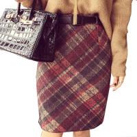 春装女修身高腰复古毛呢半身裙格子包臀裙a字裙打底裙