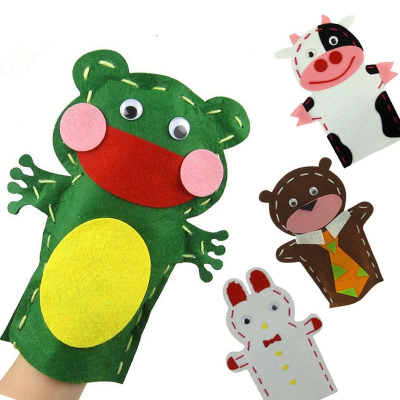 孩派 手工制作diy动物贴画创意针线缝制玩偶 布艺手偶 不织布手偶