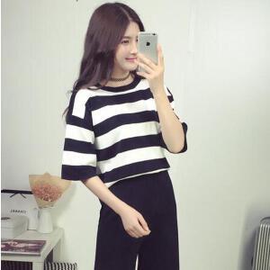 【当当年中庆】2017夏季女装新款韩版时尚学生条纹短袖T恤上衣阔腿裤套装两件