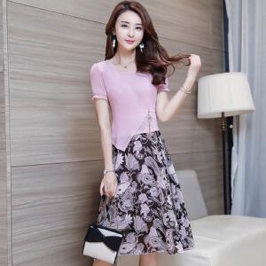【当当年中庆】2017夏装新款修身显瘦收腰短袖假两件印花a字雪纺连衣裙女