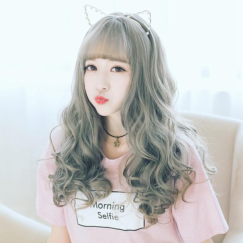 假发女长卷发大波浪中分韩国圆脸
