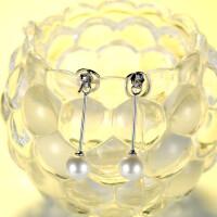 耳钉女 925纯银个性珍珠耳饰气质长款耳坠简约百搭耳环