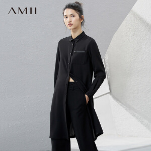 Amii[极简主义]2017春女纯色长袖尖领拉链袋长款雪纺衬衫11770239