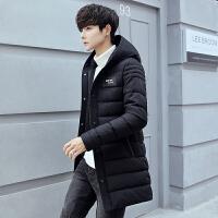 冬季棉衣男中长款青年男士外套连帽韩版潮男装加厚修身棉服棉袄