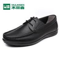 木林森男鞋 2017新款商务正装休闲皮鞋 舒适系带牛皮男士鞋子05177343