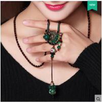 个性潮流时尚长款黑绿玛瑙女饰品掐丝景泰蓝海螺花朵毛衣链