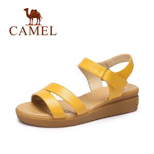 camel骆驼女鞋 2017春夏新款 休闲舒适小坡跟凉鞋气质通勤防滑鞋