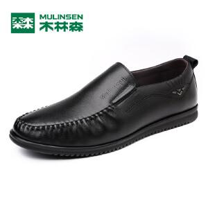 木林森男鞋 春季新款休闲商务皮鞋真皮透气软底黑色平跟系带单鞋05177355