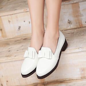春季新款韩版女鞋低跟甜美蝴蝶结单鞋学院风休闲鞋套脚懒人鞋学生鞋