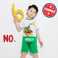 【抢】托马斯童装正版授权男童夏装时尚印花短袖短裤套装童装正版授权(三色可选)