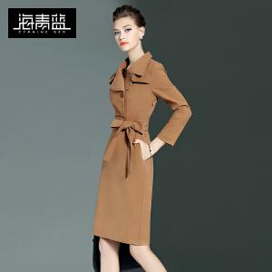 海青蓝新款纯色潮流个性九分袖修身气质一步裙连衣裙6275