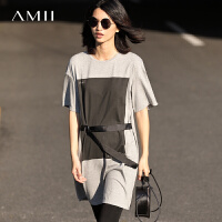 Amii[极简主义]2017春落肩宽松印花系腰带弹力棉质连衣裙11770281
