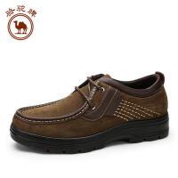骆驼牌男鞋 秋冬新款舒适日常休闲皮鞋男士大码圆头系带休闲鞋