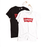 Levi's/李维斯短袖T恤女款纯棉圆领大logo印花女士修身T恤