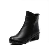 冬季中老年人鞋妈妈鞋棉鞋 保暖中年真皮女靴女鞋 高帮加绒大码中筒靴