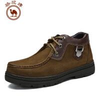 骆驼牌男鞋 新款 头层牛皮加绒靴保暖休闲靴子