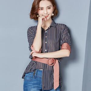 【当当年中庆】2017夏装新款条纹系带雪纺衬衫