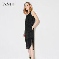 Amii[极简主义]2017夏装新款大码无袖休闲条纹拼接连衣裙11772965