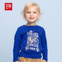 季季乐男童2017秋季新品纯棉长袖T恤时尚城堡图案圆领中小儿童上衣