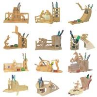 四联木制木质立体拼图玩具 马术跳水 笔筒运动笔筒马到成功中国龙