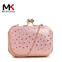 莫尔克(MERKEL)新款豹纹波点晚宴包手拿包单肩斜挎链条小包女时尚夹子包