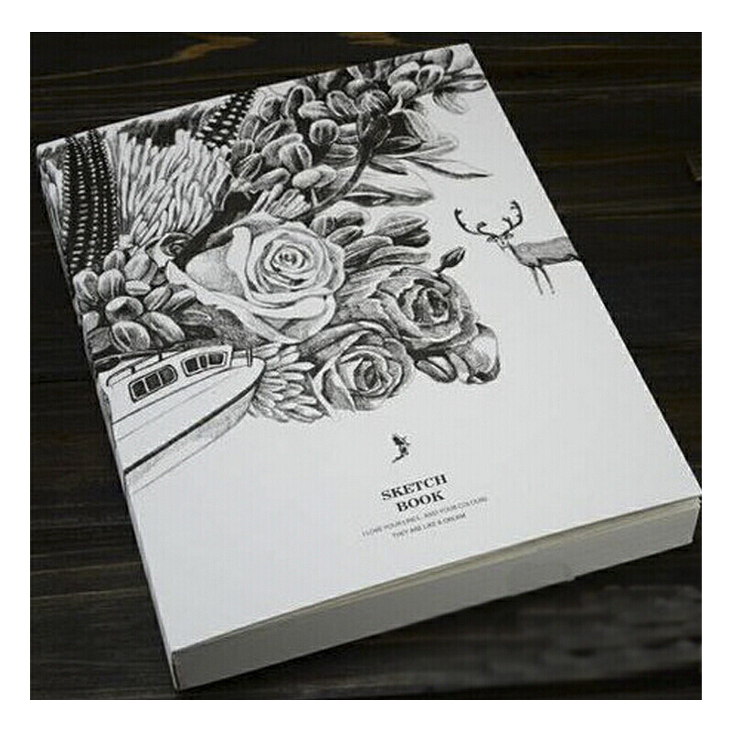 笔记本子 黑白创意空白素描本记事本速写手绘画大日记本_小鹿