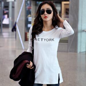2007春秋新款女装韩版白色中长款印花长袖女t恤纯棉打底衫上衣体恤WK0158