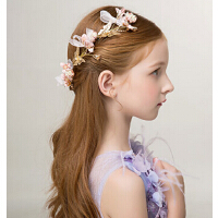 新款时尚女童发饰 粉色蝴蝶结边夹发饰儿童婚纱礼服配饰