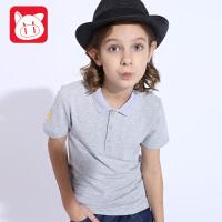 小猪班纳童装2017夏季新款儿童休闲翻领纯色短袖针织衫中大童上衣