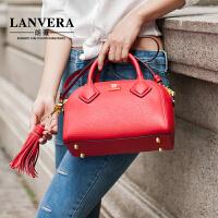 【支持礼品卡】LANVERA 女士包包2017新款手提小包欧美时尚贝壳包真皮单肩包女包 L2009
