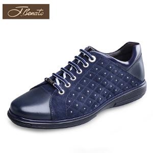 J.benato宾度男鞋男士休闲皮鞋男士圆头系带皮鞋青年平跟板鞋子