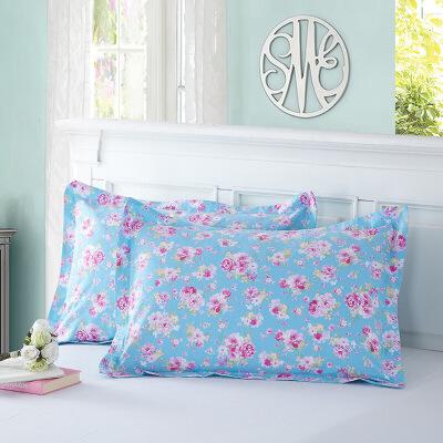当当优品 纯棉斜纹印花枕罩 48*74 对装 纯情时代当当自营 100%纯棉 无甲醛 柔软舒适 透气性好 2个装