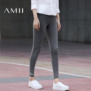 【预售】Amii2017春季新款通勤百搭橡筋腰修身纯色印花打底裤女