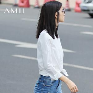 【AMII超级大牌日】[极简主义]2017年春季新款纯色立领大码黑白衬衫上衣女11672857