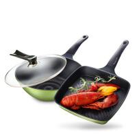 炒锅3D陶瓷煎锅套装2件套组合绿色