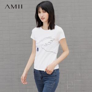Amii[极简主义]2017夏亲子圆领短袖手绘印花修身弹力T恤11742430